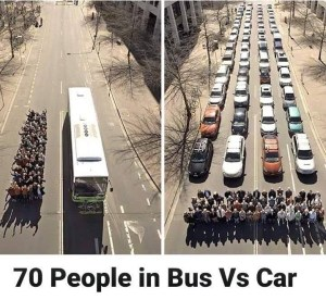 70 people in a bus VS 70 people in cars
