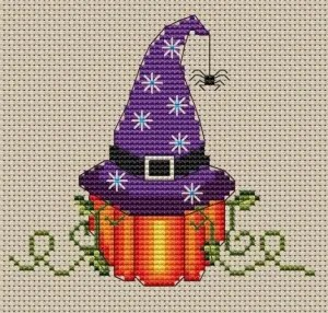 Pumpkin Witch Cross Stitch Pattern Preview