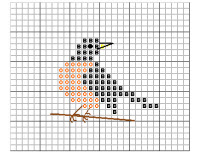 cute little robin cross stitch pattern preview