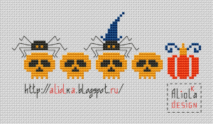 spiders, pumpkins, and skulls free cross stitch pattern preview