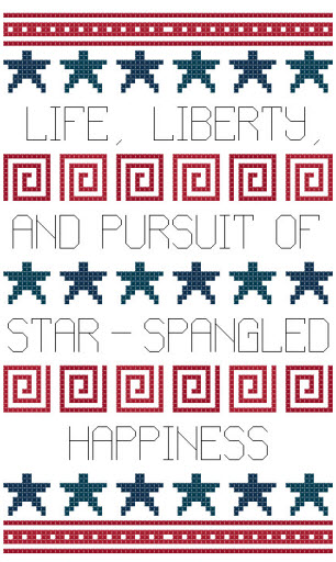 star-spangled happiness cross stitch sampler