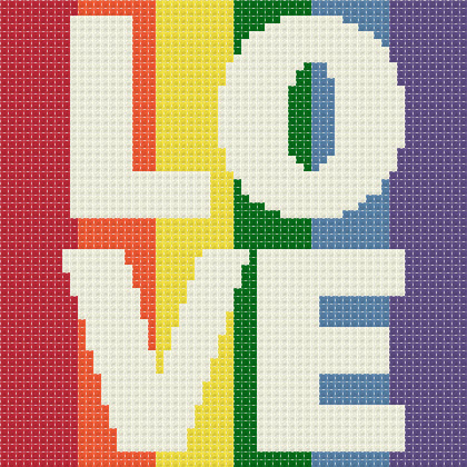 Rainbow for Marriage Equality Love is Love free cross stitch pattern
