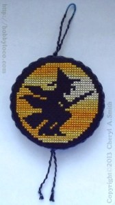 witch moon halloween ornament free cross stitch pattern