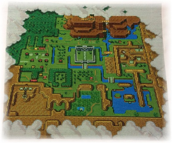 Legend of Zelda: A Link to the Past Light World Map Cross Stitch Pattern