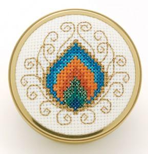 peacock pincushion free cross stitch pattern