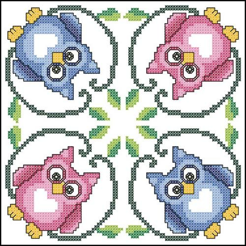 cute owl cross stitch pattern for making biscornu or pincushion
