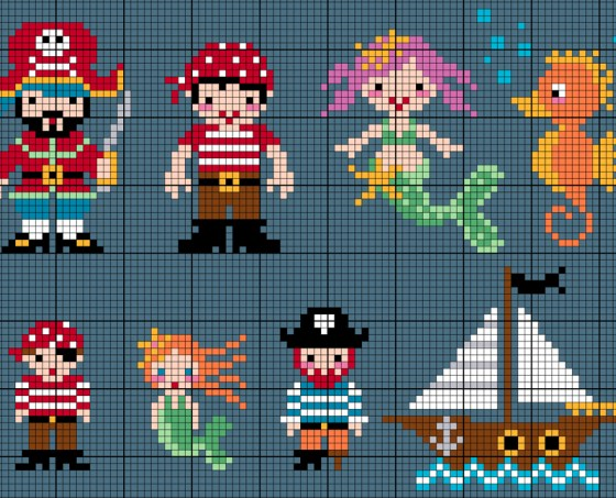 pirate and mermaid free cross stitch patterns