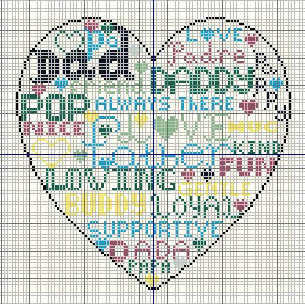 free fathers day cross stitch heart from buzy bobbins