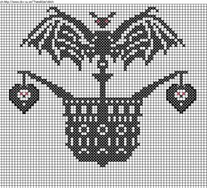 bat pirate ship free halloween cross stitch pattern from Too Much Stash