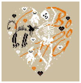 free halloween cross stitch pattern from CasaCenina skeleton and ghost in heart