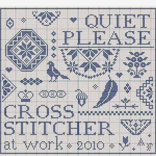 Quiet Please, Stitcher at Work, a free cross stitch pattern from Needleprint