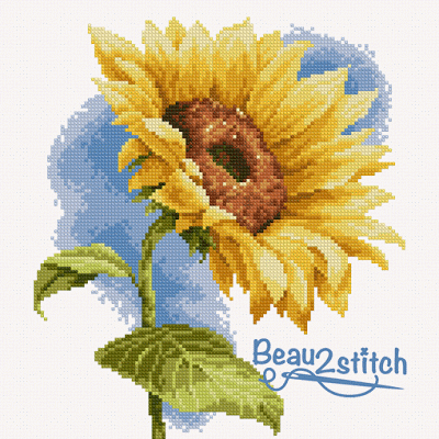 free sunflower cross stitch pattern from beau2stitch