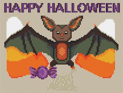 Candy Bat Free Halloween Cross Stitch Pattern