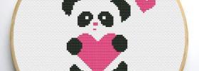 free panda heart cross stitch pattern
