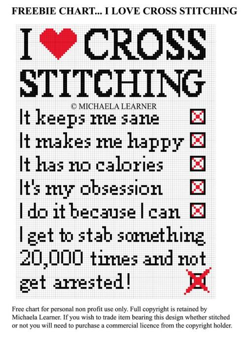 i love cross stitching free cross stitch pattern from Michaela Learner