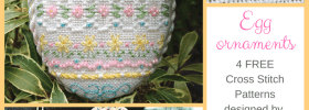 Easter Egg ornament Designed by Janelle Giese for Kreinik - four free cross stitch patterns available to download