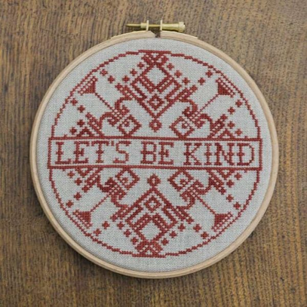 Let's Be Kind free cross stitch pattern from Modern Folk Embroidery