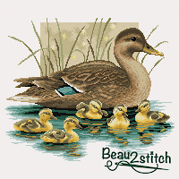 family of ducks free cross stitch pattern