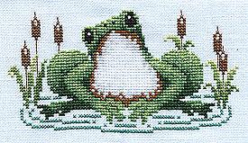 Frog Happy free cross stitch pattern