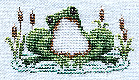 Frog Happy free cross stitch pattern