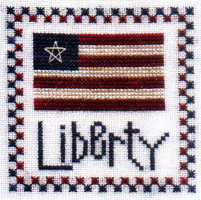 Liberty free patriotic cross stitch pattern from Glory Bee Designs