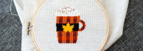 Pumpkin Spice Latte Mug Free Cross Stitch Pattern from Ugly Duckling House