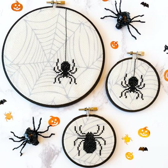 free spider cross stitch patterns for halloween