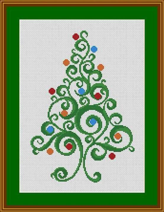 swirly christmas tree free cross stitch pattern
