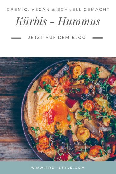 Kürbis-Hummus mit geröstetem Gemüse