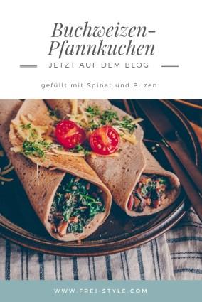 Buchweizenpfannkuchen mit Spinat - vegan