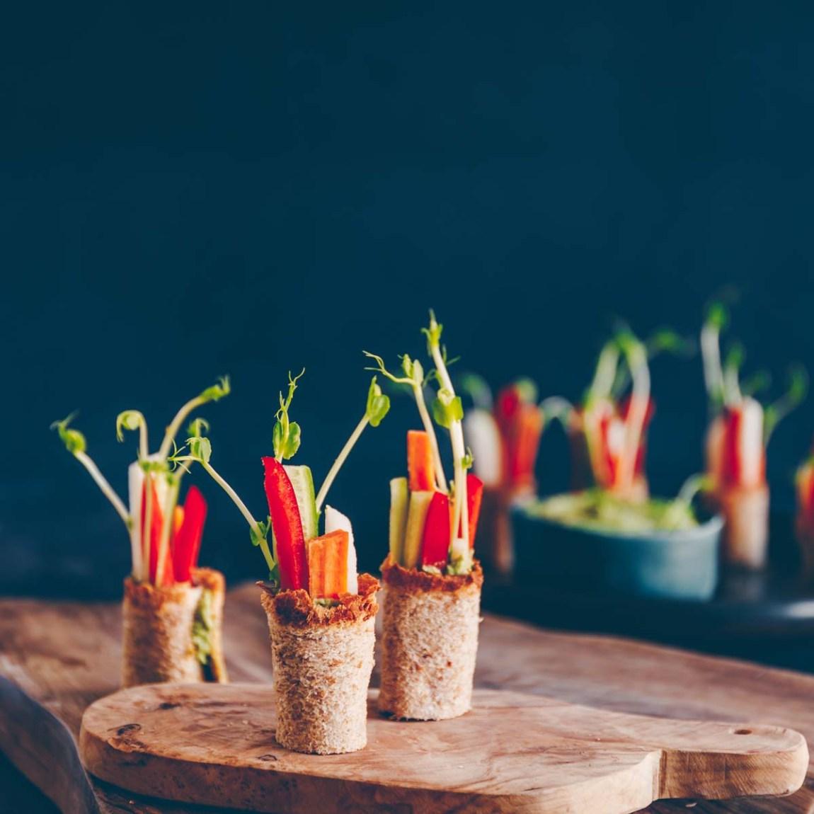 Toast Röllchen mit Gemüse