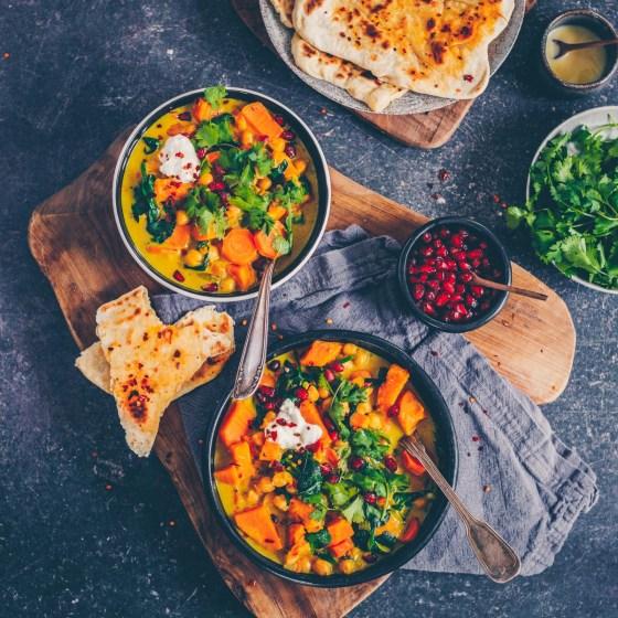 Süsskartoffel-Curry mit Chili-Naan
