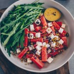 Vegan watermelon feta salad