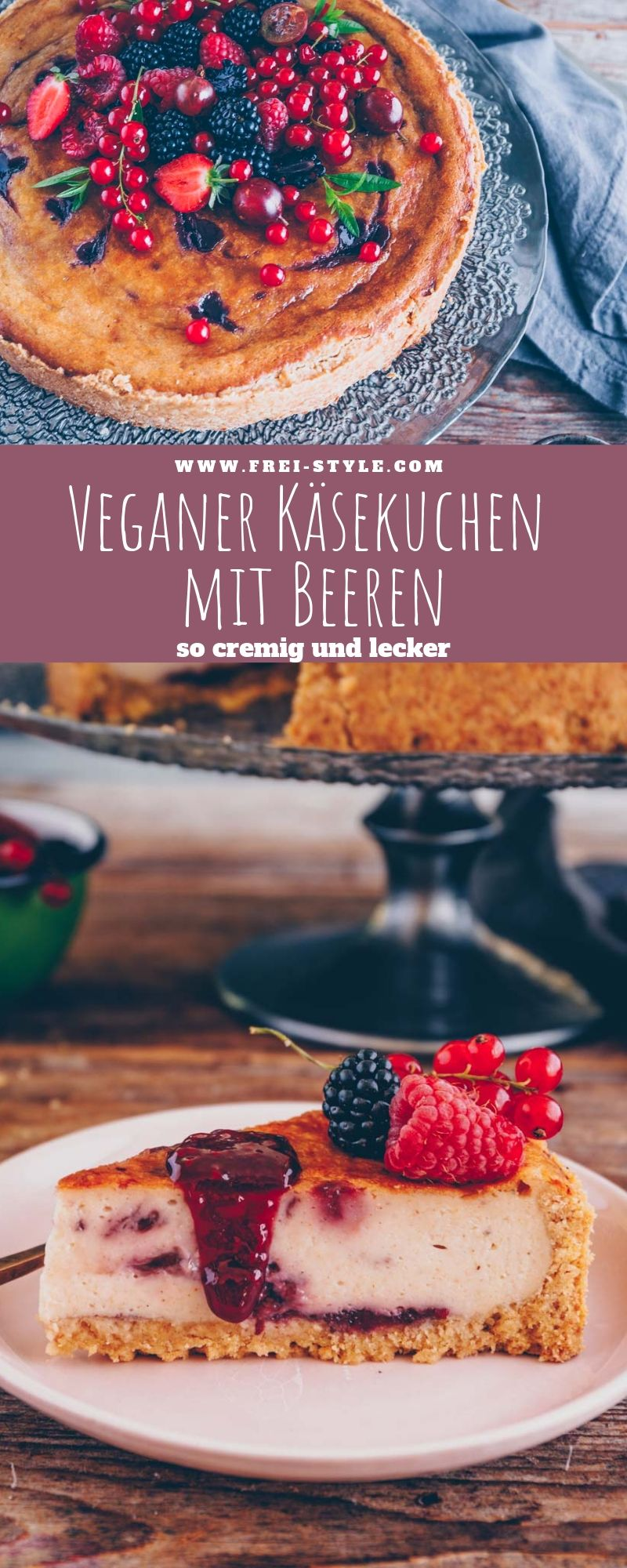 Veganer Käsekuchen mit Himbeeren