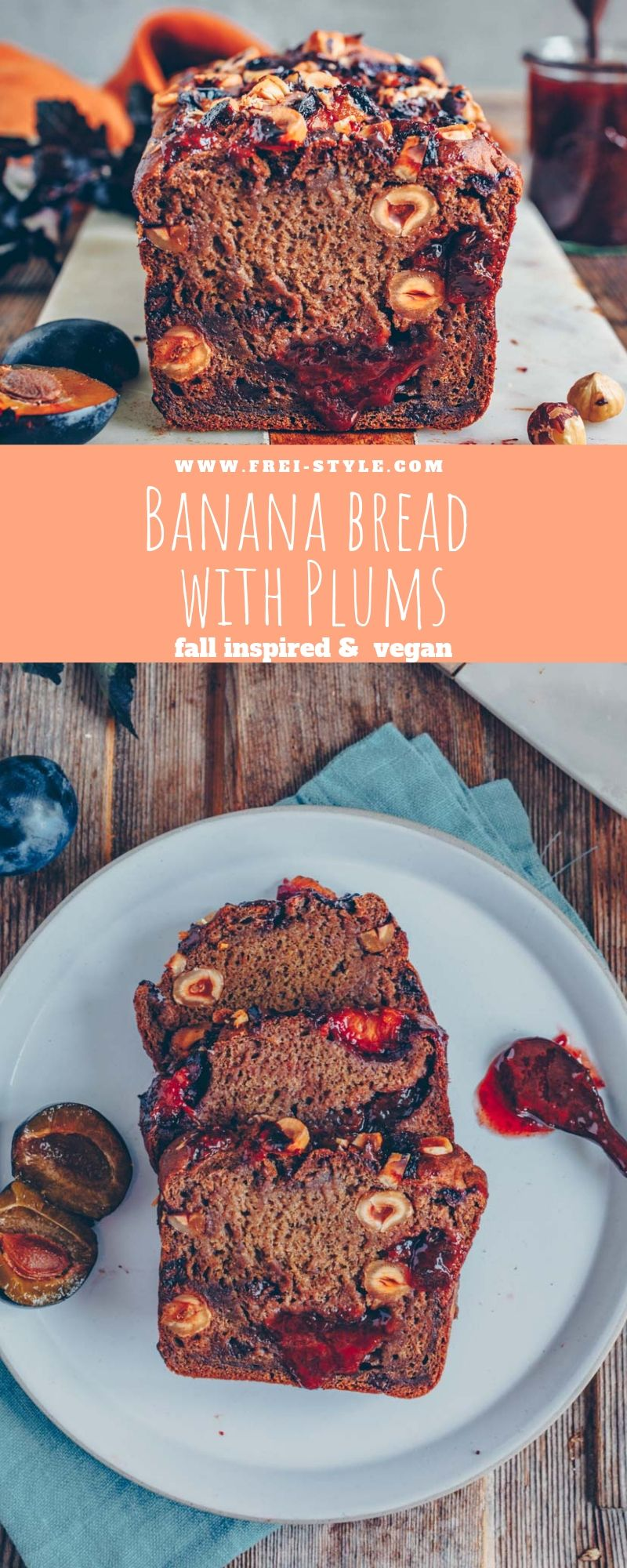 banana bread with plums and hazelnuts