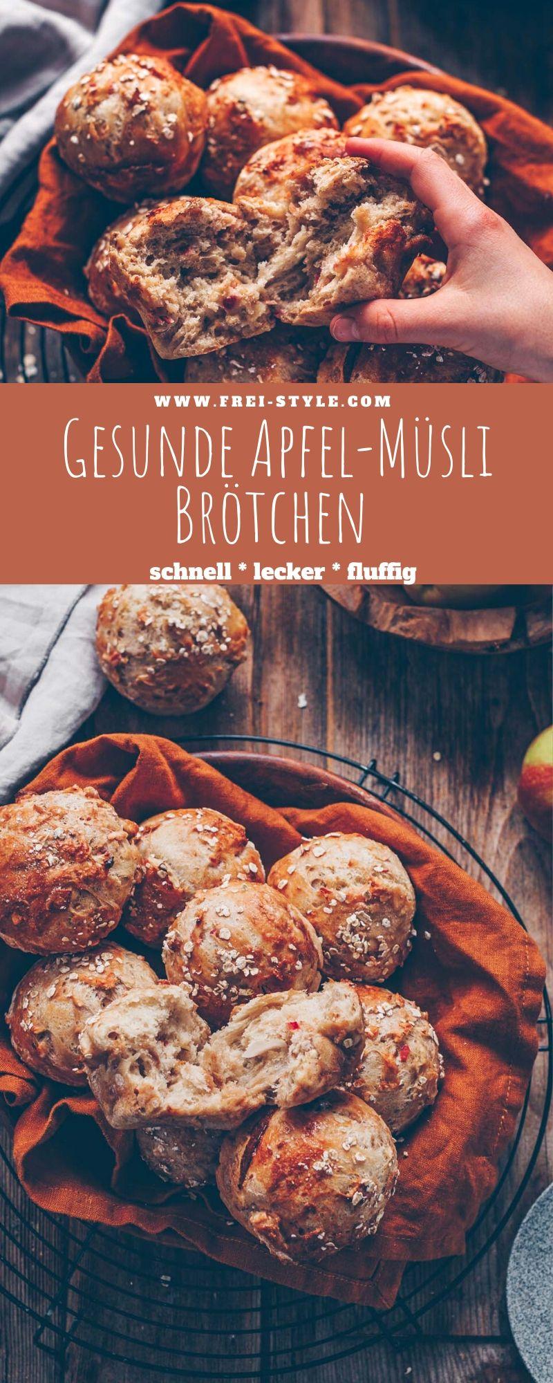 Gesunde Apfel-Müsli Brötchen