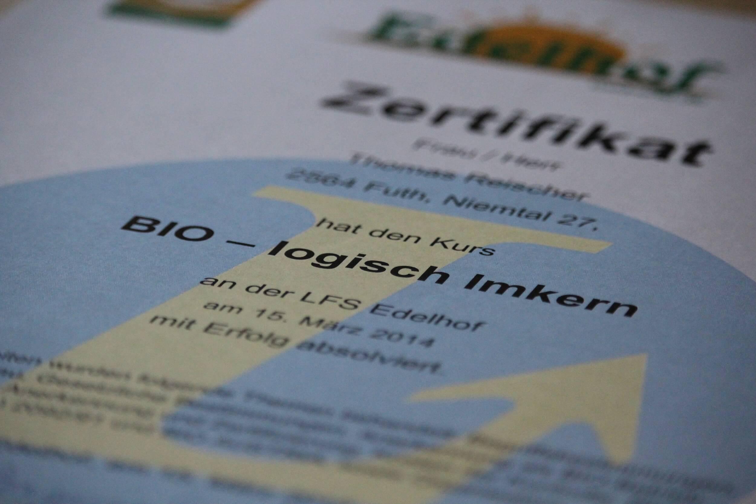 Zertifikat biologisch imkern