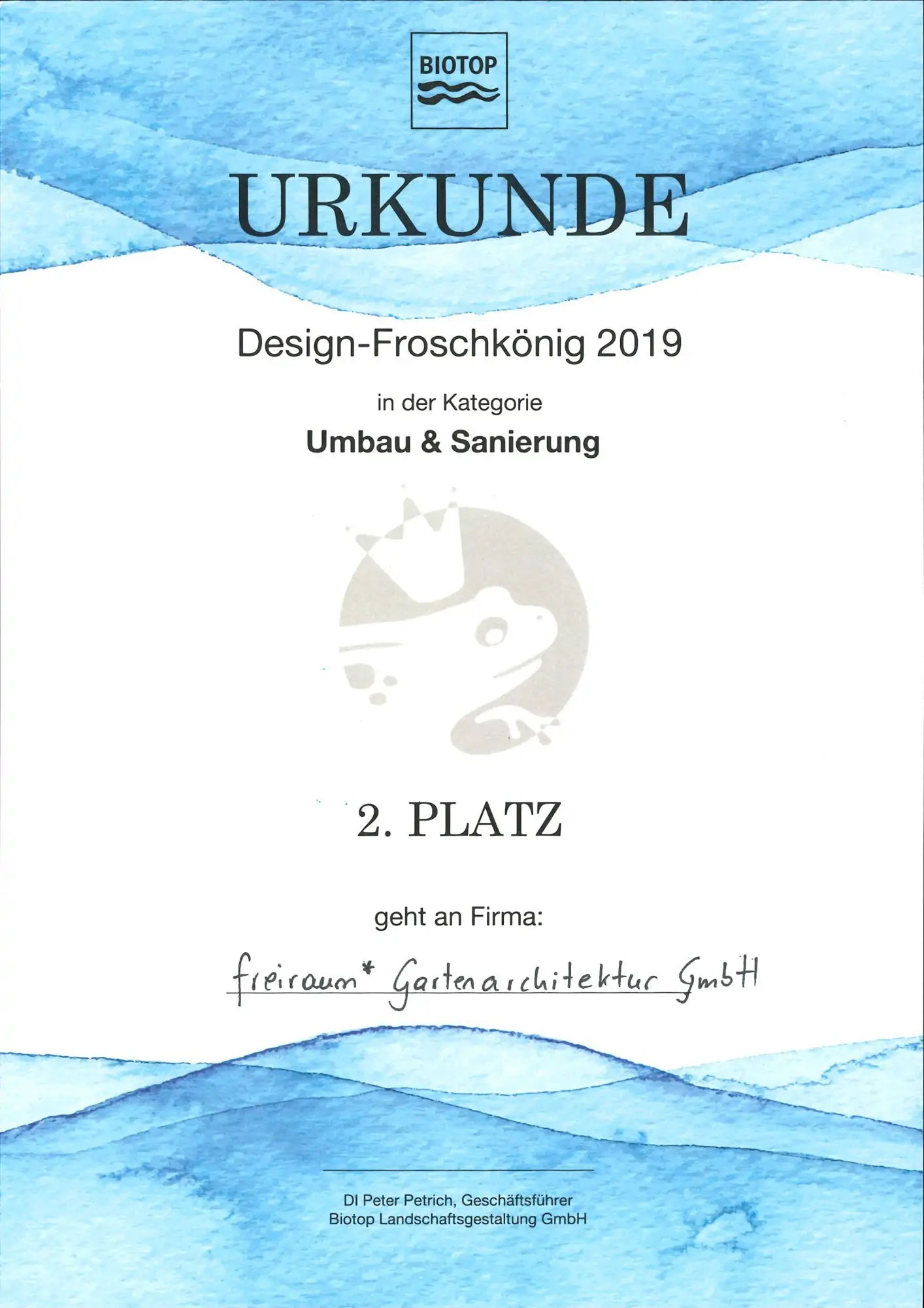 FREIRAUM Urkunde 2 Platz Design Froschkoenig 2019