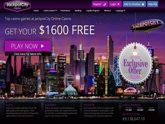 JackpotCity Casino 1600 EUR gratis bonus