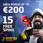 EnergyCasino 70 gratis spins and 150% up to €400 free bonus