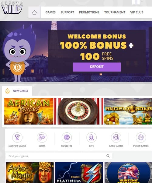 CryptoWild.com free spins bonus