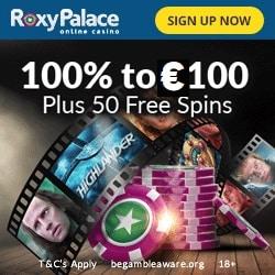 Roxy Palace Casino 100% Bonus bis zu €100 + 50 Freispiele für Highlander