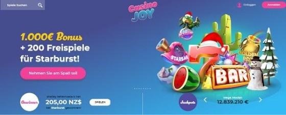 Casino Joy 200 gratis spins und 1.000 EUR gratis