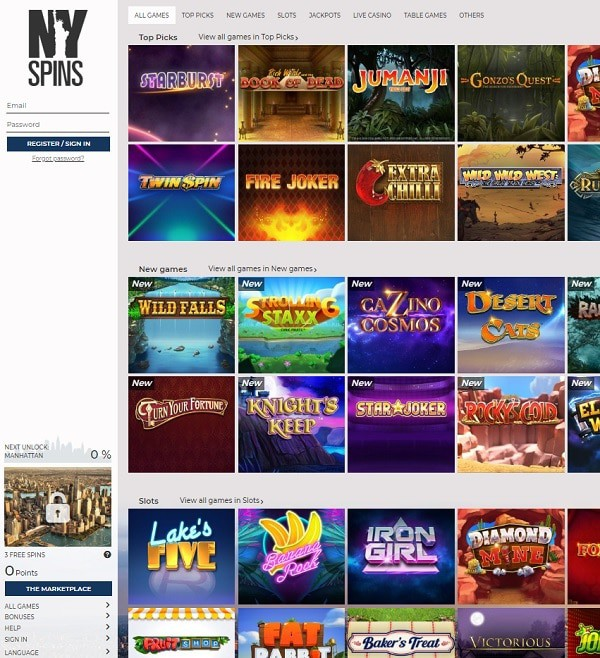 NY Spins Casino Review