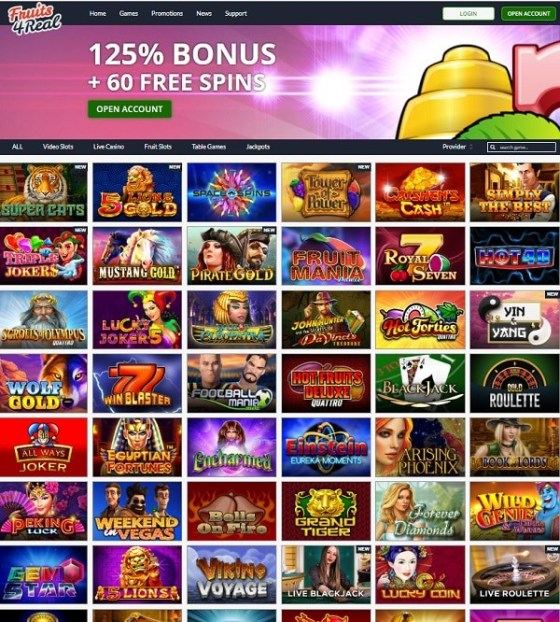 Fruit 4 Real Casino 125% bonus and 60 gratis spins