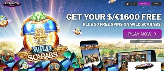 50 Free Spins on Wild Scarabs and 1600 EUR welcome bonus
