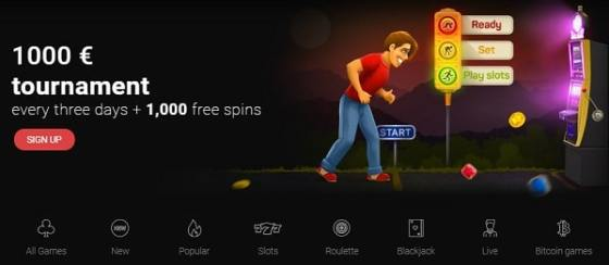 Slot Tournament witn a prize pool of 1,000 EUR and 1,000 Free Spins