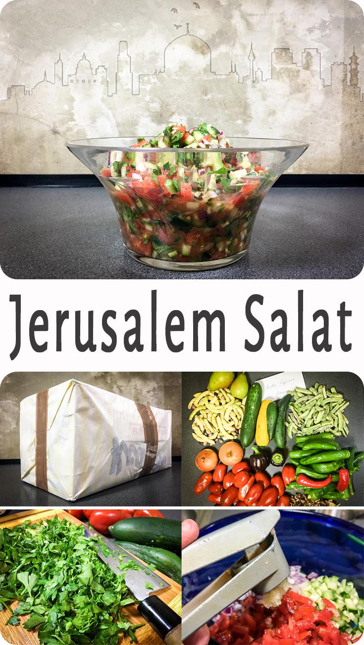 Jerusalemsalat - Das ist hier ist ein Salat den ich sehr liebe und der sofort süchtig macht. Der Trick beim Jerusalem Salat ist es das Gemüse super, mini, klein zu schneiden, in Kombination mit den drei frischen Kräutern.