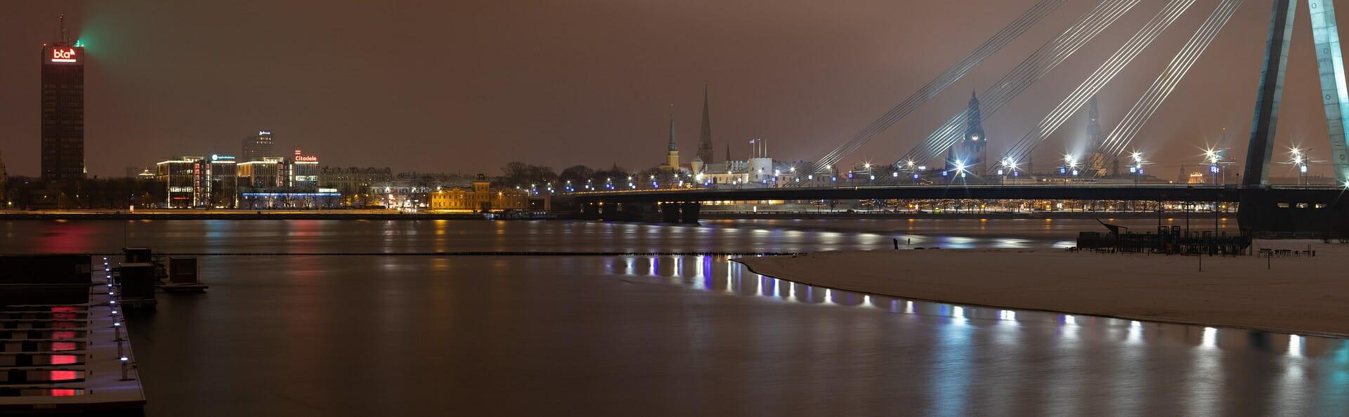 Klassenfahrt Riga Panorama am Abend