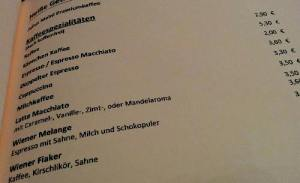 Mozarte Speisekarte